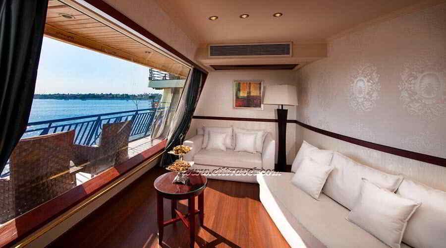 Amwaj Living Stone Nile cruise royal suite